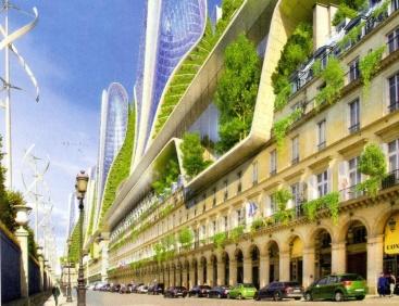 @ Vincent Callebaut sa projection d'un Paris SF et écolo, bâtiments agrandis de panneaux solaires et éoliens dans les jardins des tuileries pour alimenter les bâtiments haussmanniens de la rue de Rivoli_Projet « Paris 2050 »