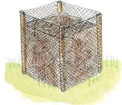 Installer un enclos pour la réserve de feuilles et autres déchets bruns/secs qui peuvent manquer au fin printemps/été