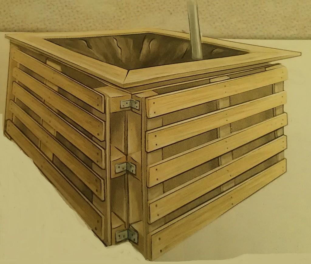 Un collecteur d'eau en récupération palette adapté à des terrasses plein pied_ chez Joseph Chauffrey